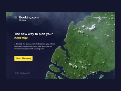 Booking.com Itinerary — Concept explore animation motion booking app prd sketch principle uidesign cta earth landing page landing aerial map itinerary booking booking.com bookingcom ui ux