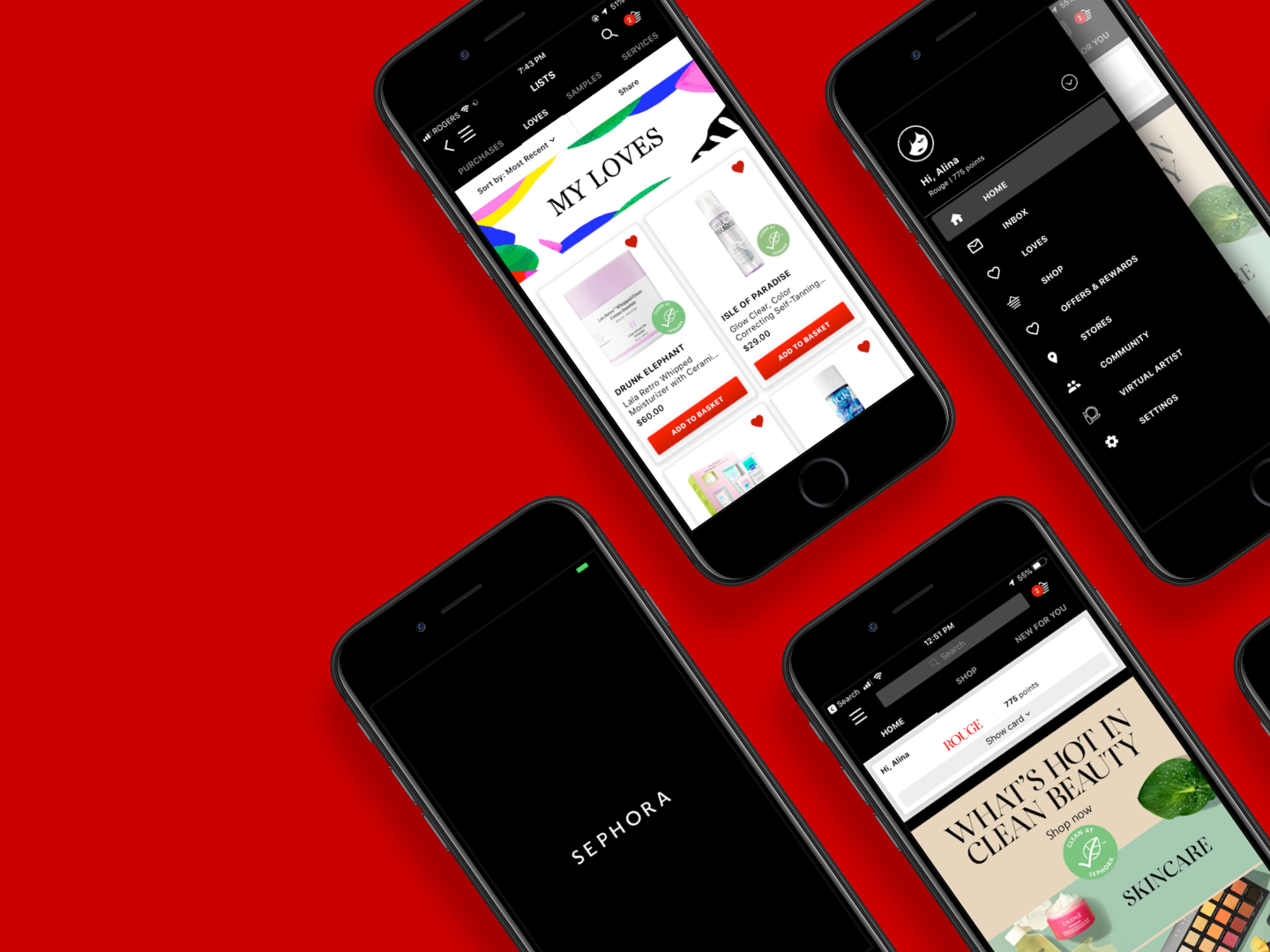 Sephora Redesign: Loves List and Navigation Drawer by Alina