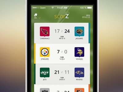 ScorZ - Sports APP sport app ui ux iphone mobile ios icon