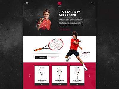 Wilson Tennis page wilson tennis federer ui ux photoshop interface