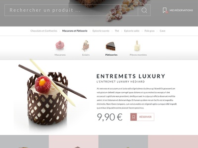 Aelia product page product page navigation pastry luxury ecommerce food ux ui