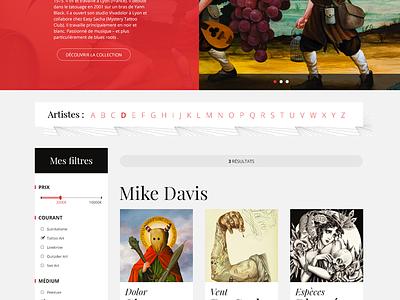 Artjaws - Artists Page list design art artjaws ecommerce ux ui