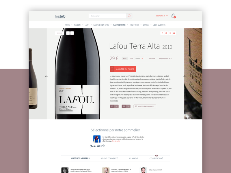 Le Club // Product Page product page wine paris idenity food product ecommerce france interface design ux ui