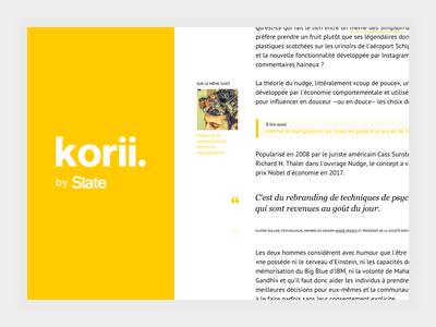 korii website article korii slate interface ux ui