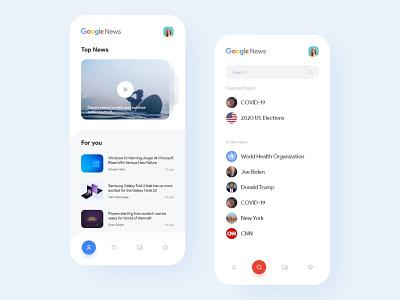 Google News Concept ux 2d ui app designer ux designer ui designer ux design ui design google news challenge 2020 trends design challenge google news design dribbble