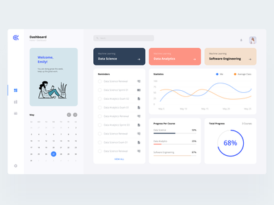 Machine Learning Dashboard user experience user interface panel design education panel online course dashboard ui web panel panel webdesign dashboard design data science course machine learning machinelearning machine ui ux design dribbble