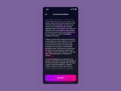 Daily UI - #089 Terms of Service