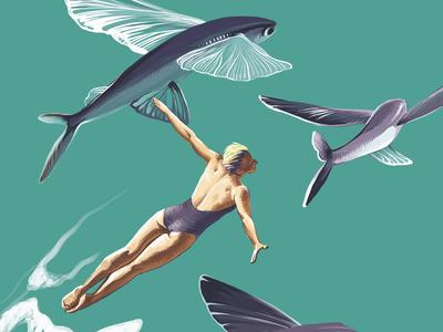 Intro digital illustration book illustration woman flying fish flying fish surrealism hello dribbble magazine illustration design illustration