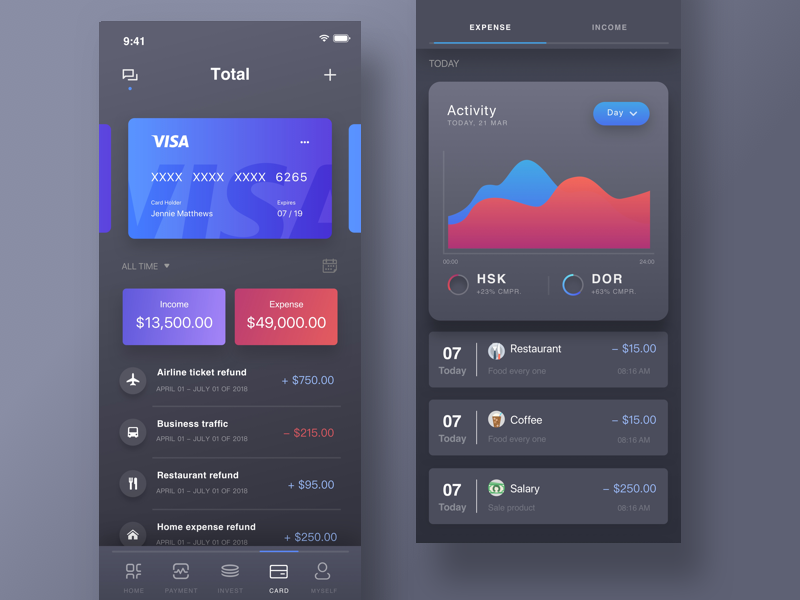 Card Page of Finance APP black night mode data statistics finance