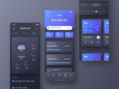 Wallet and Card Page of Finance APP wallet black night mode data statistics finance
