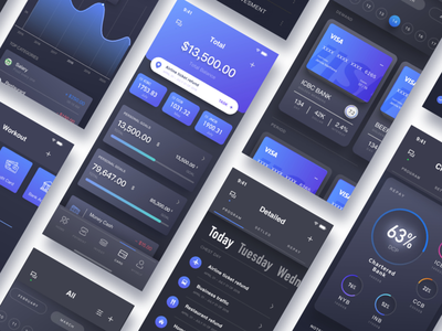 ALL - Wallet and Card Page of Finance APP  2 wallet statistics night mode finance data black