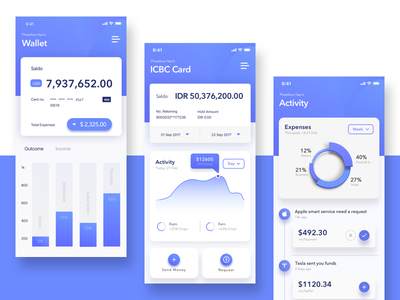 Wallet and Card Page of Finance APP Concept 3 data visualization wallet statistics mode finance