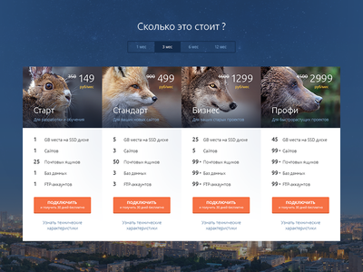 Pricing table features animal cart price concept web ui hosting tariff table pricing
