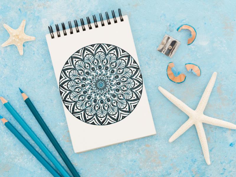 Mandala digital blue mandala