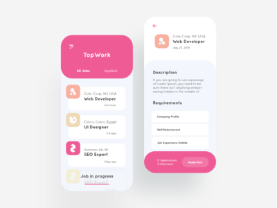 Job portal UI design.