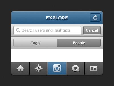 Explore iphone instagram explore tabbar navbar toggle search
