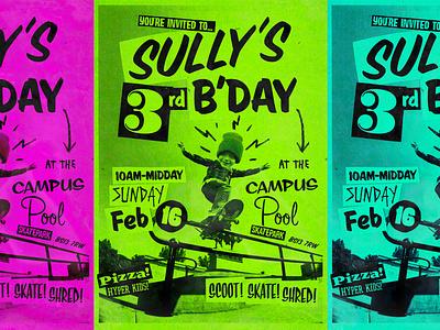 Sullys 3rd Birthday poster design illustration