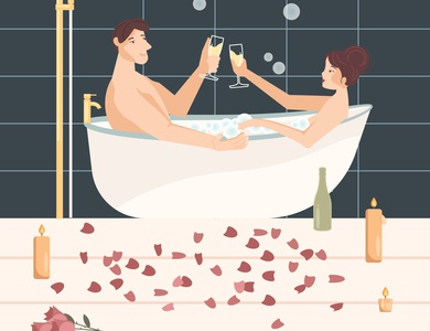 Lovers in bathtube