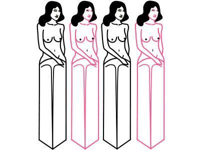 Knifegirls simple tits pink black nude shape girl knife oldschooltattoo