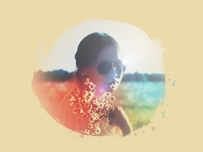Girl with Flowers sunset graphic splat brush texture bokeh photoshop photography