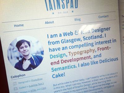 About page web design typography responsive design source sans colophon web development