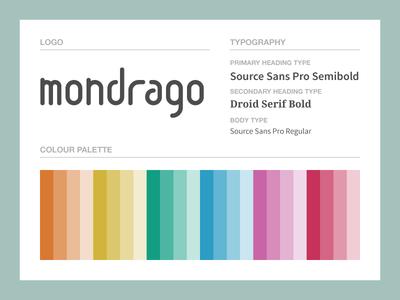 Mondrago Branding Scheme branding scheme typography logo palette styling guidelines source sans pro droid serif