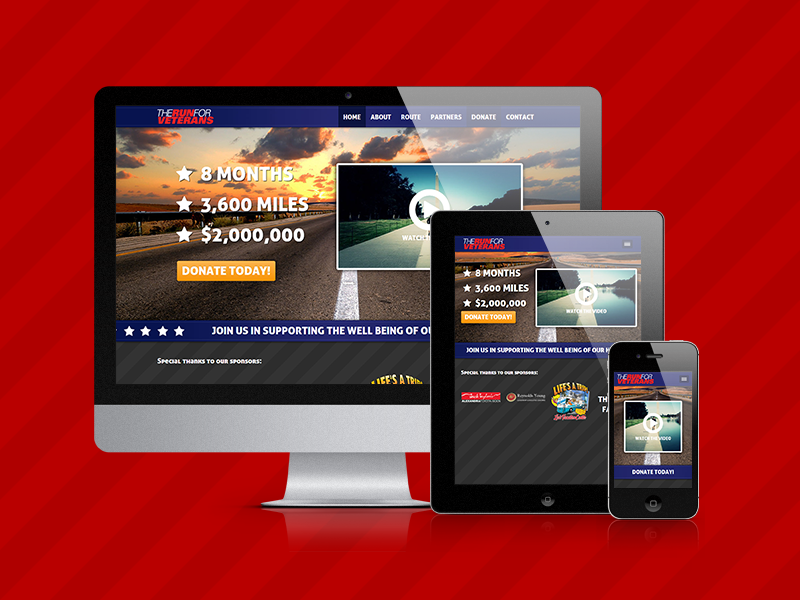 The Run for Veterans responsive css3 html5 web design website mobile non-profit