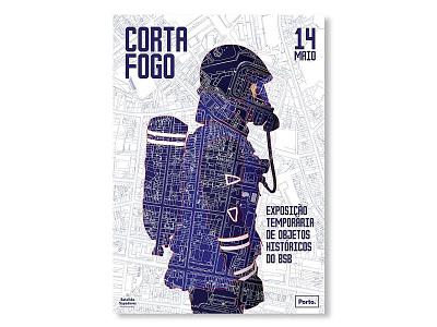 Corta fogo - exposição temporária BSB do Porto illustration typography design vector