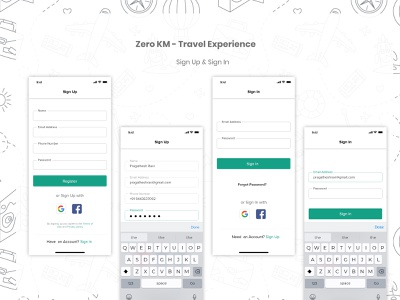Travel App - Zero KM - Sign In Sign up pages sign in ui sign in form sign up form travelapp freelancer neomorphism sign in page boarding register sign up sign in ui dailyuichallenge dailyui adobexd product design