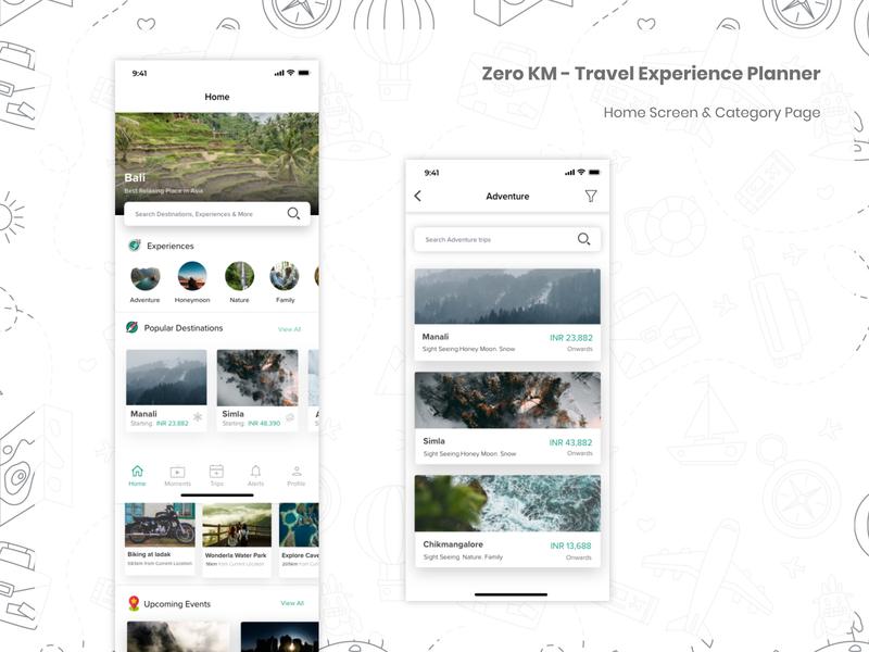 Travel App - Home & Category Page - Zero KM