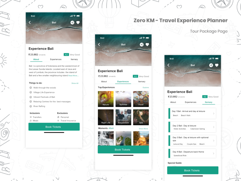 Travel App - Tour Package page