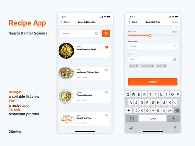 Recipe App - Search & Filter Screen redesign filter search recipe app app design neomorphism adobexd freelancer freebie dailyui ui dailyuichallenge product design