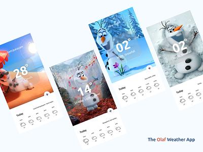 The Olaf Weather App 🌧️☀️ mobile app design landing page adobexd aurora neomorphism freelancer freebie ui dailyuichallenge dailyui mobile weather app