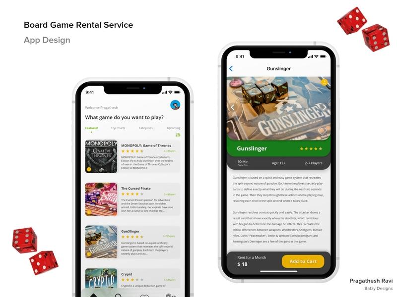 Board Game Rental Service - App Design