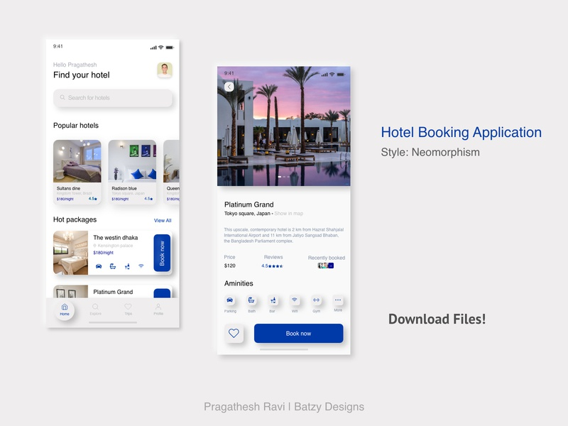 Hotel Booking App - Neomorphism Design - Freebie