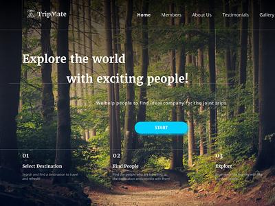 Tripmates -  Landing page : Freebie freebie travel web travel website landing page landing freelancer app design dailyuichallenge ui illustraion design adobexd dailyui product design