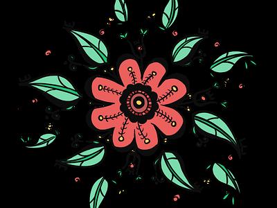 Flower balance flower illustration nature symetry mandala circleoflife circle leaf balance peace green red flower drawing illustrator illustration