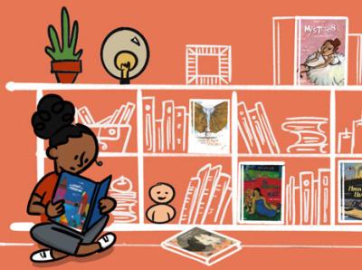 Pont Des Arts illustration library home homeschooling litterature artbook children books art reading procreate photoshop illustration canotech