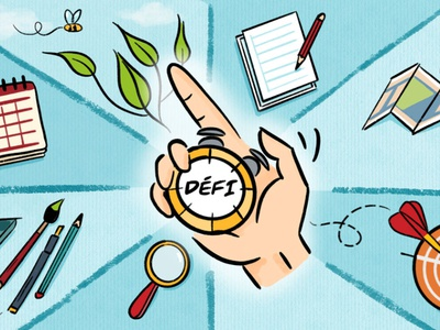 Défi - challenge homeschooling education timer défi challenge ipad procreate illustrator illustration