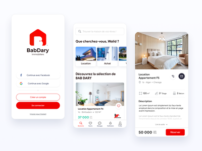 Bab Dary | Real Estate Rental App product details home page login page pure ios android branding algeria mobile design app red ui buy house rental home rental app rental user experience user interface ux ui design