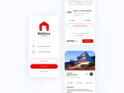 BabDary - Real Estate App design ux algeria booking product details login ui mobile app real estate home rental