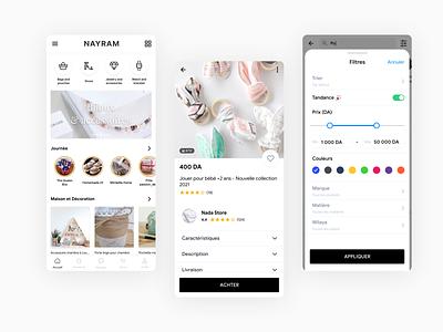 NAYRAM - Handmade goods marketplace android ios minimal icon modern app mobile algeria ux marketplace ui design