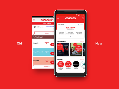 """Redesign """"My Ooredoo App"""" new main screen ios android case study redesign ooredoo design icon mobile algeria ui ux app ui ux"""