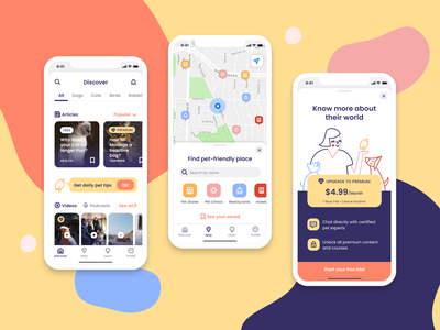 Designflows 2020 – Pets Lover App map paywall designflows petshop minimal icon pet pets flat vector ux illustration app ui design