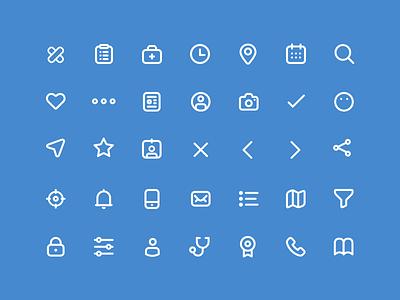 Medical App Icon Set minimal web illustration app vector design ui medical flat icon