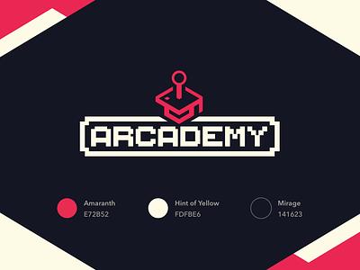 Arcademy icon meetup pixel video games 8bit flat design logo