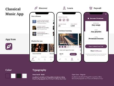 Classical Music App ux ui design learning platform classical music app music