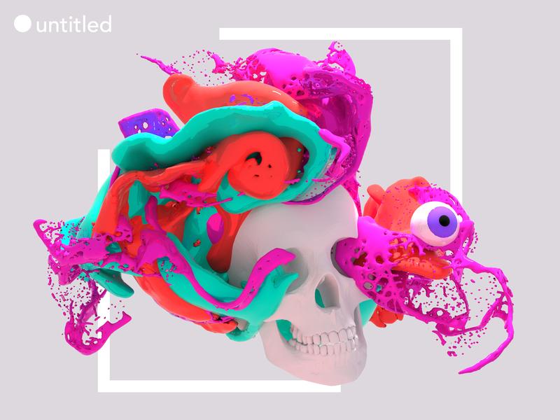 untitled eye skull 3d blender design