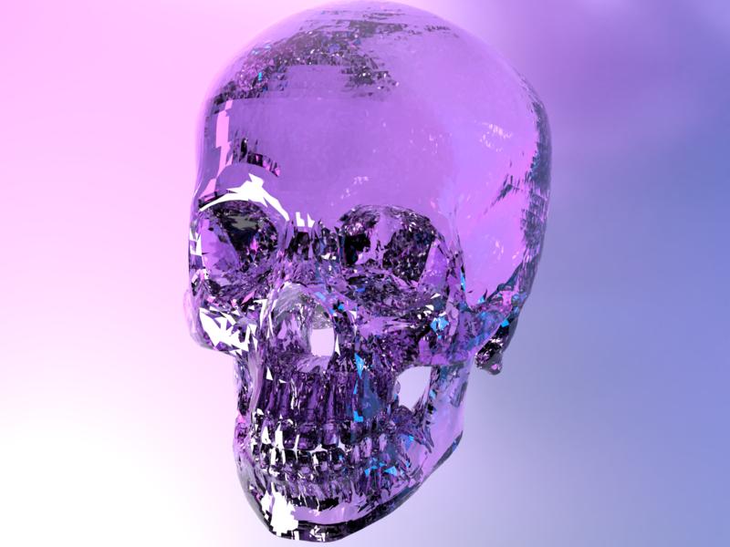 Fragile lighting crystal skull 3d blender