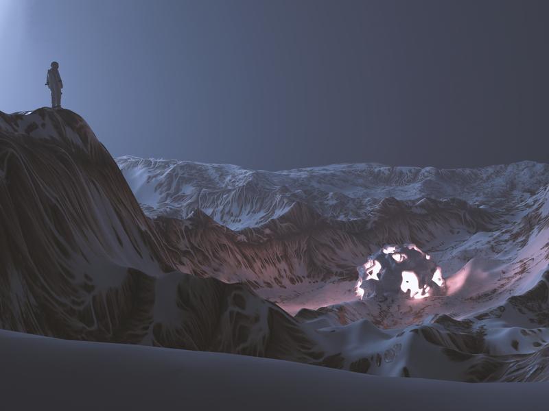 Alien Planet astronaut moutain lighting design 3d blender